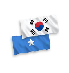 Flags south korea and somalia on a white vector