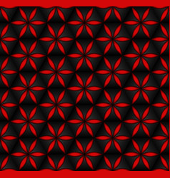 floral seamless pattern red 3d volumetric flowers vector image
