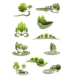 Green trees in landscapes icons vector image