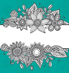 Greeting card template with hand drawn doodle vector
