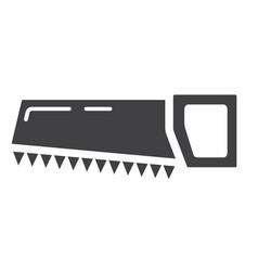 hand saw glyph icon build and repair handsaw vector image