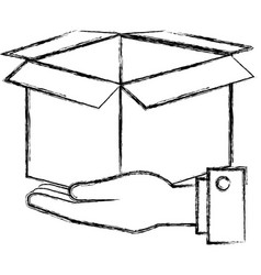 hands with carton box vector image