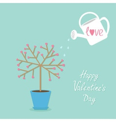 Happy Valentines Day Love tree in the pot Heart vector