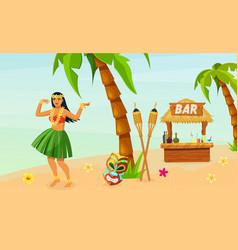 hawaiian party hawaiian girl in traditional dress vector image