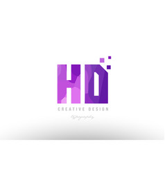 Hd h d pink alphabet letter logo combination with vector