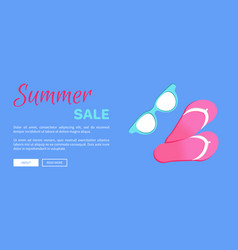 Hot summer poster with flip-flops and sun glasses vector