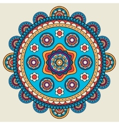 Indian doodle mehendi colored mandala vector