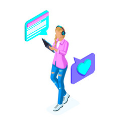 Isometrics young girl communicates in social netwo vector