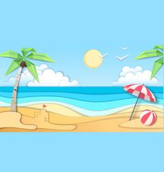 landscape sea beach cut out paper art design vector image