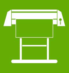 Large format inkjet printer icon green vector