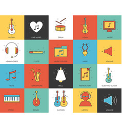 line icons set of music collection concept modern vector image