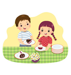 little siblings setting table vector image