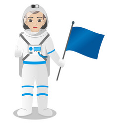 Male astronaut holding helmet and flag vector