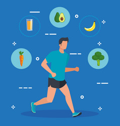Man running sport with healthy food vector