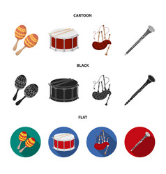 maracas drum scottish bagpipes clarinet vector image