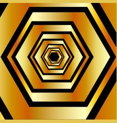 metallic hexagonal in gold colors forming vector image