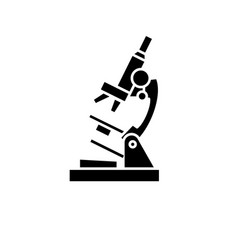 microscope black icon sign on isolated vector image