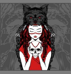 Native american girl with wolf headdress handling vector