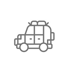 off road automobile suv car for travel line icon vector image