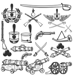 Old weapons muskets sabers cannons cores hussar vector