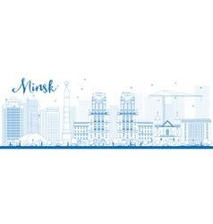 Outline Minsk skyline with blue buildings vector