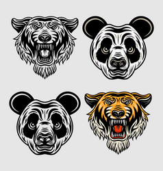 panda head and tiger head cartoon characters vector image