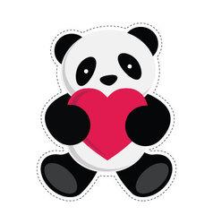 Panda holding heart vector