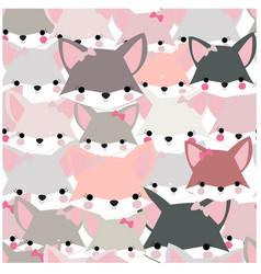 pattern seamless cute baby fox girl cartoon vector image