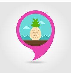 Pineapple pin map icon Summer Vacation vector image
