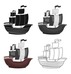 Pirate ship icon in cartoon style isolated on vector