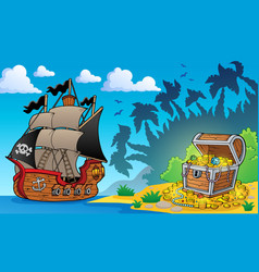 Pirate theme with treasure chest 1 vector