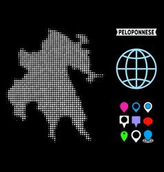 Pixel halftone peloponnese peninsula map vector