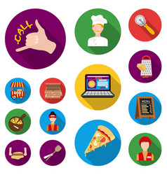 Pizza and pizzeria flat icons in set collection vector