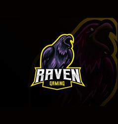 raven mascot sport logo design vector image