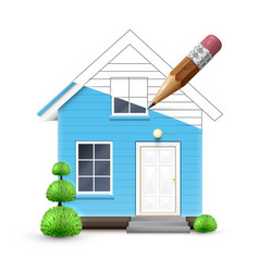 realistic house being drawn vector image