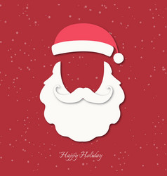 santa claus hat beard and moustache vector image