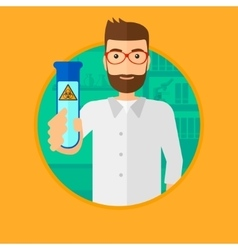 Scientist with test tube vector