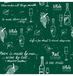 Seamless wine pattern chalkboard vector