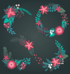 set christmas floral wreaths with winter vector image