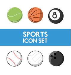 set flat icon ball sport vector image