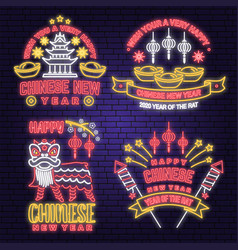set happy chinese new year neon greetings card vector image