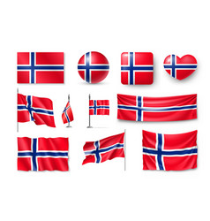 set norway flags banners banners symbols flat vector image