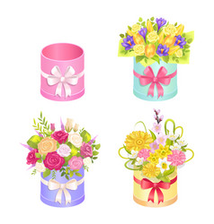 set of beautiful bouquets with decorative elements vector image