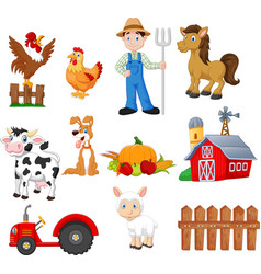 set of farming cartoon with farmer vector image