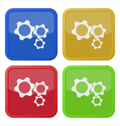 Set of four square icons with three cogwheel vector