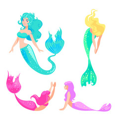 set of mermaids isolated on white background vector image
