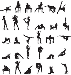Silhouettes of dancing girls vector