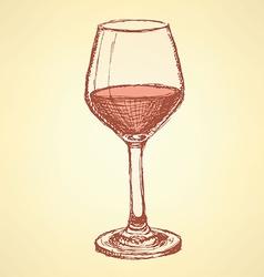 Sketch vine glass in vintage style vector image