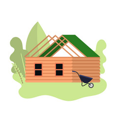 Small wood house under construction with green vector