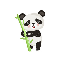 Smiling panda standing with green bamboo stick vector